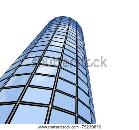 3D video wall / tower of flat tv screens, reflecting sky. isolated on white, with 2 clipping paths : global scene clipping path and screens clipping path to place your designs or pictures. - stock photo