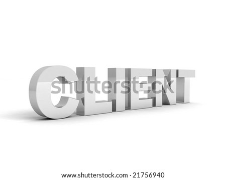 3D view of client word - stock photo