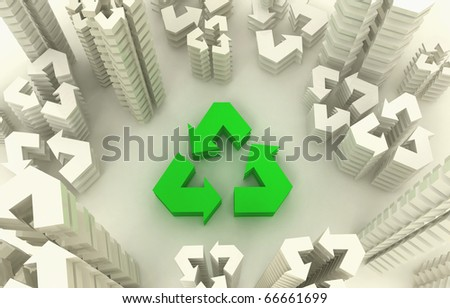 3d view of eco city - stock photo