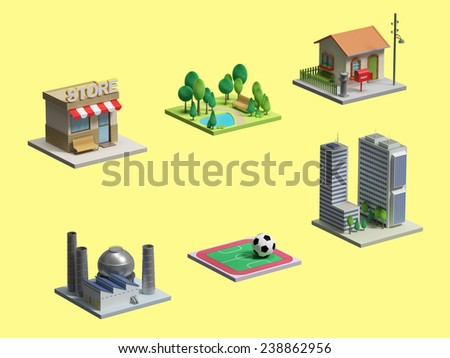 3d village and city piece - stock photo