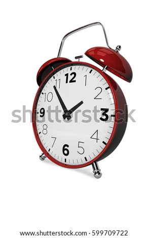 3D vintage alarm clock, metallic red on white background with shadow View: Slightly turned left