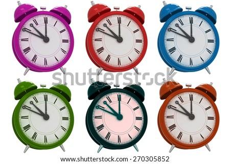 3d vintage alarm clock six peaces - stock photo