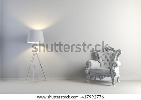 3d vintage arm chair interior render - stock photo