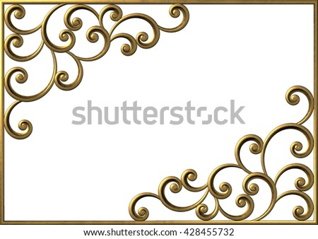 3d vintage floral frame with curl and swirl. Decorative pattern element - stock photo
