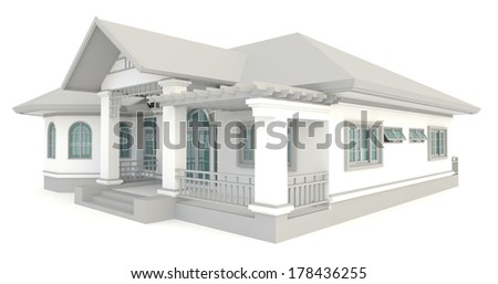 3 D Vintage House Exterior Design Isolated Stock Illustration ...