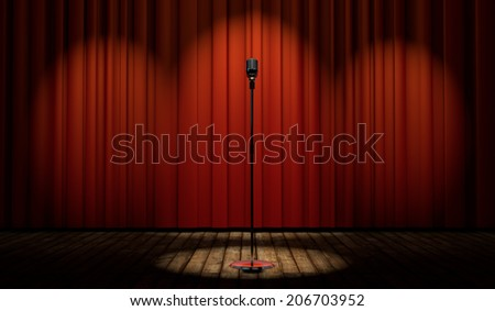 3d vintage microphone in spot light on stage with red curtain  - stock photo