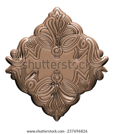 3D Vintage ornate design on white background.