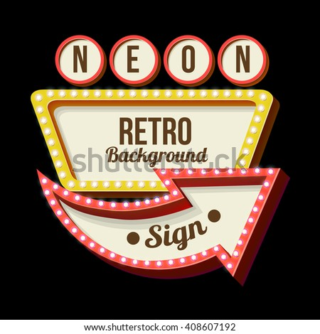 3d Vintage street sign, Retro banner with glowing lights, Volume symbol of frame, Design element for your poster, advertising, text, Night sign with arrow, Frame, arrow icons, illustration billboard - stock photo