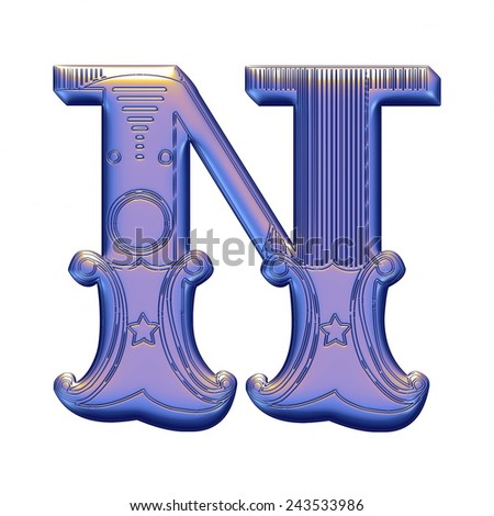3D violet alphabets N on isolated white background. - stock photo