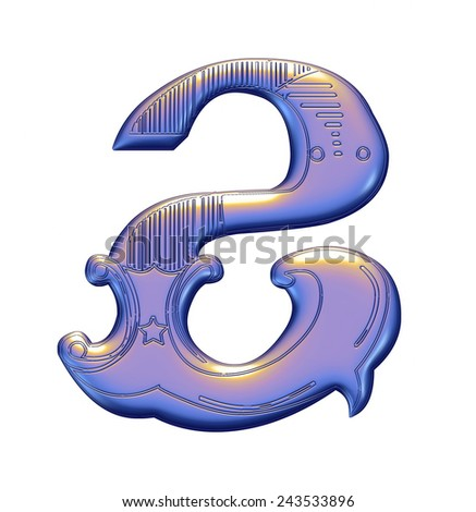 3D violet Number 2 on isolated white background. - stock photo