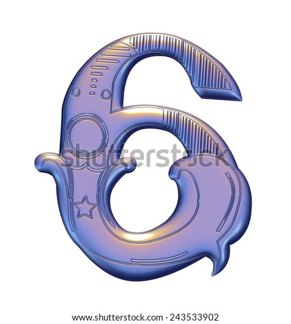 3D violet Number 6 on isolated white background. - stock photo