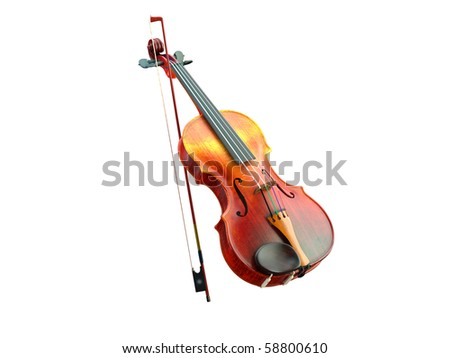 3d violin on the white background - stock photo