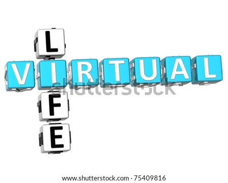 3D Virtual Life Crossword on white background
