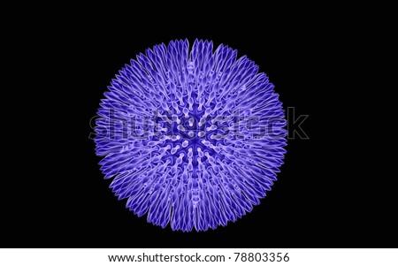 3d virus on a dark background - stock photo