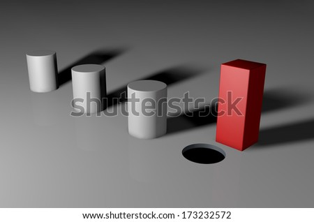 3d visual of a square unique peg - stock photo