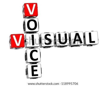 3D Visual Voice Crossword on white background - stock photo