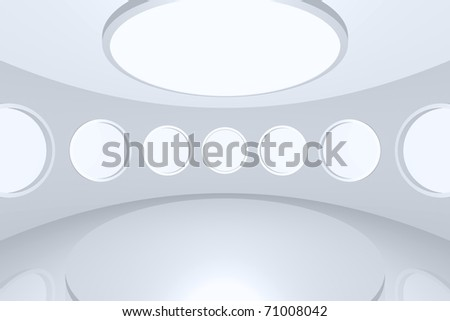 3D visualization of a modern futuristic interior empty space round - stock photo
