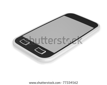 3d visualization of isolated mobile phone with touch screen - stock photo