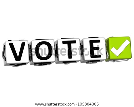 3D Vote Button Click Here Block Text over white background