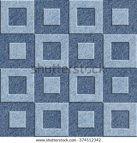 3D wall decorative tiles - Decorative paneling pattern - Interior Design wallpaper - Abstract checkered style - continuous replication - seamless background - blue jeans textile - stock photo