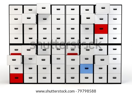 3D wall of file drawers isolated over white background