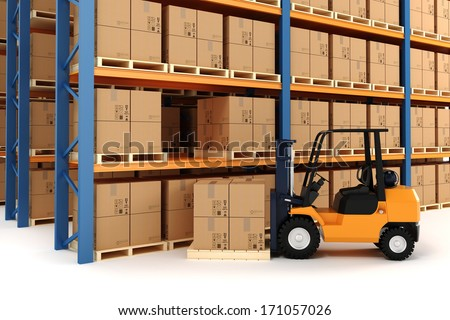 3d warehouse and forklift - stock photo