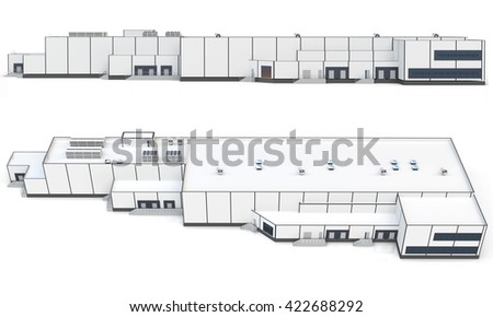 3d warehouse, factory building on white background 3D illustration - stock photo