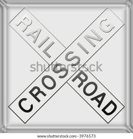 3d Warning / danger railroad crossing sign - stock photo