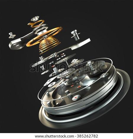 3d watch mechanism on black background. High resolution - stock photo