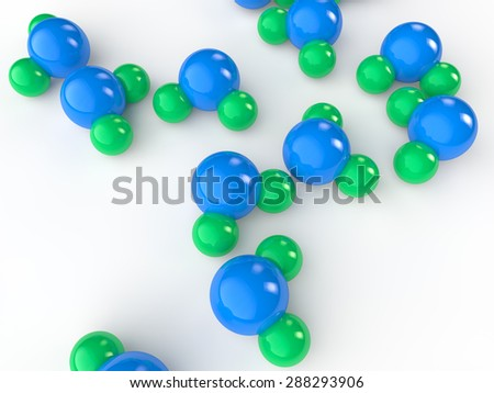 3d water molecule models on white background - stock photo