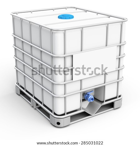 3d water tank cube on white background - stock photo