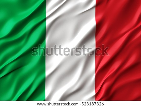 3d Waving colorful italy flag render