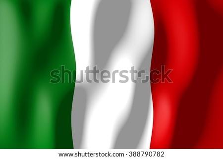 3D waving flag of Italy. - stock photo