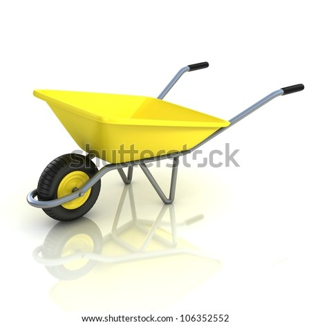 3d wheel barrow isolated on the white background - stock photo