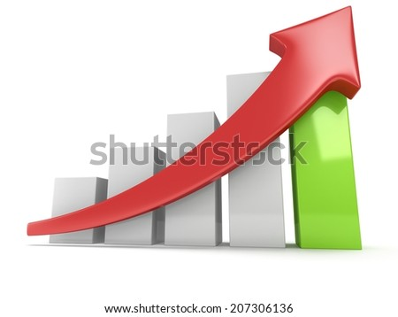3d White and green bar graph with red arrow on white. Grow, chart, business concept