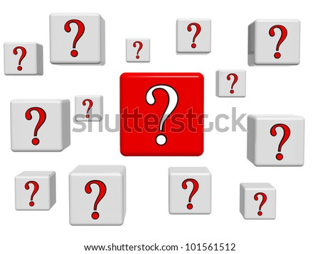 3d white and red boxes with question signs - stock photo