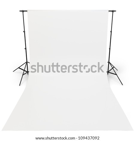 3d White backdrop in photography studio on white background - stock photo