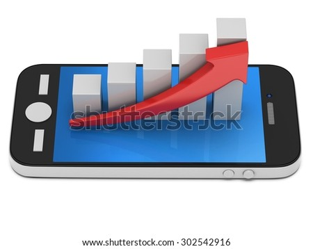 3d white bar graph with red arrow growing up on smartphone. Mobile apps concept. 3D render isolated on white background - stock photo