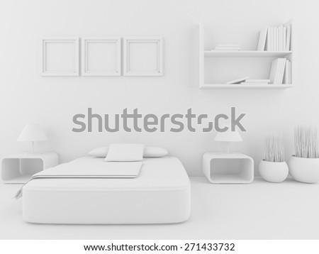 3d white bedroom - stock photo