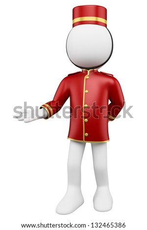 3d white bellboy welcoming. 3d image. Isolated white background. - stock photo