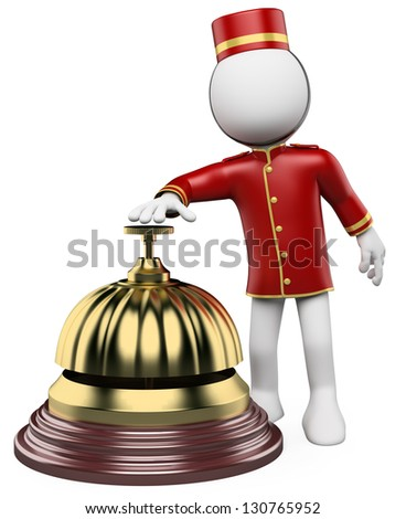 3d white bellhop ringing a hotel reception bell. 3d image. Isolated white background. - stock photo