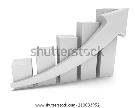 3d white blank bar graph chart with arrow growing up on white. Grow, chart, business statistic concept - stock photo