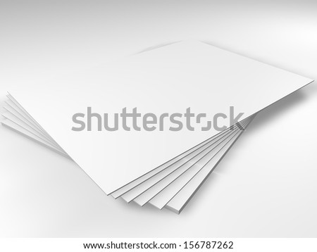 3D white blank sheets of paper