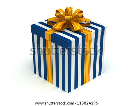 3D white-blue Gift christmas box with yellow bow on the white - stock photo