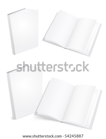 3d white books isolated on the white background - stock photo