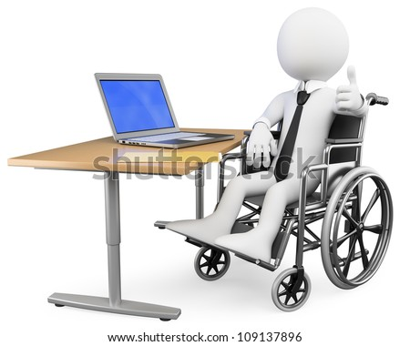 3d white business person disabled working at office. 3d image. Isolated white background. - stock photo