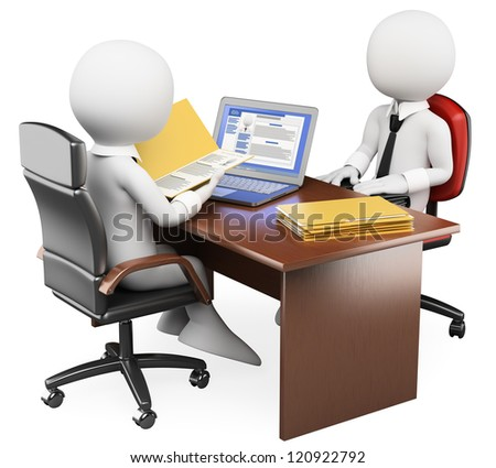 3d white business person in a job interview with the curriculum vitae and social networks profile. 3d image. Isolated white background. - stock photo
