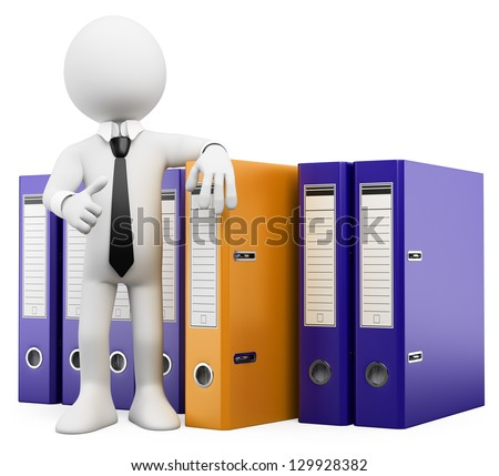 3d white business person look and find the folder he needs. 3d image. Isolated white background. - stock photo