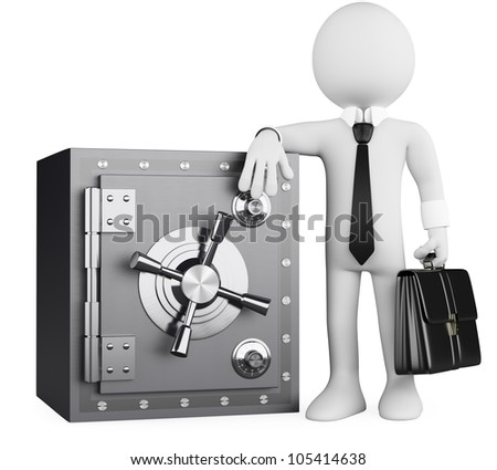 3d white business person with a briefcase leaning on a safe. 3d image. Isolated white background.