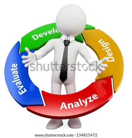 3d white business person with a management cycle graph. 3d image. Isolated white background. - stock photo